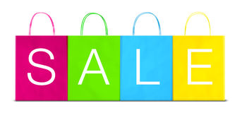 Four paper different colored shopping bags with SALE inscription Stock Photos