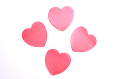 Four paper hearts Stock Image
