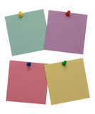 Four paper for notes. Isolated on white background Royalty Free Stock Photography