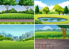 Four park scenes with trees and field Royalty Free Stock Photos