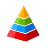 Four part pyramid diagram. Four part vector pyramid diagram template royalty free illustration