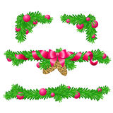 Four parts of Christmas decoration for rectangle areas Royalty Free Stock Image
