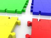 Four parts of puzzle pieces in different colors.3d illustration. In backgrounds Royalty Free Stock Image