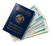 Four passports and some belarusian money royalty free stock photography