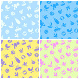 Four pattern with baby supplies and toys Royalty Free Stock Images