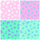 Four pattern with baby supplies and toys Stock Photography