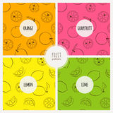 Four pattern with citruses Royalty Free Stock Image
