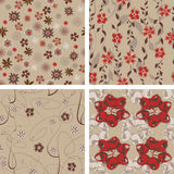Four pattern in floral Stock Photo
