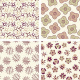 Four pattern in floral Royalty Free Stock Photos