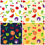 Four pattern with fruits and vegetables Stock Photo