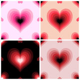 Four pattern with hearts. Seamless texture Royalty Free Stock Photos