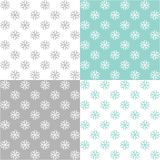 Four pattern with snowflakes Royalty Free Stock Photo