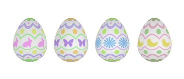 Four Patterned Easter Eggs on White Background. Four festive and pretty spring Easter Eggs on white background. Original patterns include rabbits, butterflies Stock Image