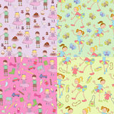 Four patterns. Four cheerful patterns on children's theme stock illustration