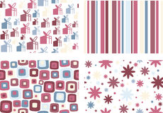 Four patterns. Four different styles: floral, linear, gift and retro Royalty Free Stock Photos