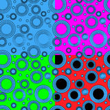 Four patterns with circles Royalty Free Stock Photography