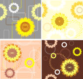 Four patterns from sunflower Royalty Free Stock Photography