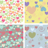 Four patterns for valentine's day vector illustration