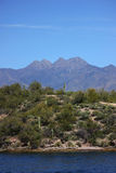 Four Peaks. With Saguaro Lake in the foreground in Arizona Stock Image