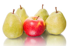Four pear and apple. Four green pear and red apple isolated on a white background Stock Photos