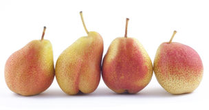 Four pears in a rank on white Stock Photo