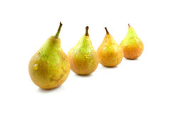 Four pears in a row Royalty Free Stock Images