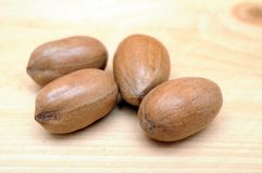 Four pecan nut Stock Images