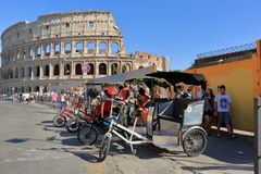 Four pedicab waiting for tourists in Rome, Italy Royalty Free Stock Image