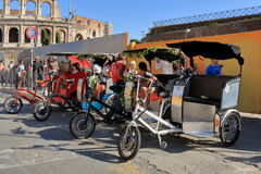 Four pedicab waiting for tourists in Rome, Italy Stock Photography