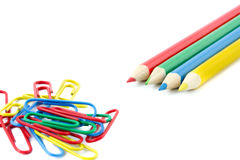 Four pencils and paperclips Stock Photography