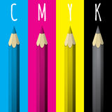 Four Pencils With The CMYK Color. Royalty Free Stock Photos