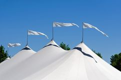 Four Pennants Waving in Air Stock Photo