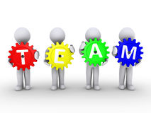 Four people with cogs that spell TEAM. Four 3d people holding cogwheels that spell the word TEAM Stock Photo