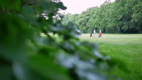 Four people at a golf course. Camera is focused on the persons and in the left side of the picture is a blurred tree stock footage