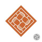 Four people hands teamwork square logo. Four hands teamwork logo. Square symbol of four people hands holding together as grid knot. Line style co-working icon Stock Image