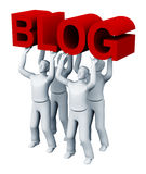 Four people holding a blog. 3d. Four people holding a red sign a blog on a white background Stock Photos