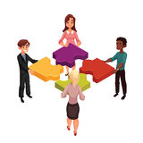Four people putting jigsaw puzzles together, concept of partnership. Four people of diverse ethnicity connecting jigsaw puzzle elements, cartoon style vector Stock Photo
