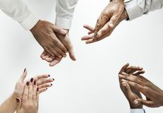 Four People Showing Clap Hand Gestures stock photography