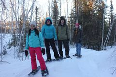 Snowshoe Walk royalty free stock images