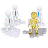 Four people standing on the gear. Four 3d people standing on the gear consisting of puzzles. Isolated render on a white background Royalty Free Stock Image