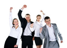 Four peoples are smiling royalty free stock photo