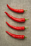 Four pepper row Royalty Free Stock Photos