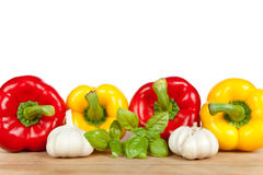 Four peppers with spices Royalty Free Stock Images