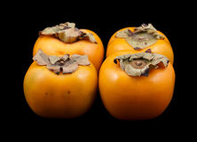 Four persimmon fruits Royalty Free Stock Photos
