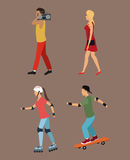 Four person walking roller skating music Stock Photo
