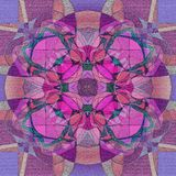 FOUR PETALS FLOWER MANDALA IN PURPLE, PINK, GREEN AND LIGHT BROWN, TEXTURE IN ALL THE IMAGE, ROMANTIC STYLE vector illustration