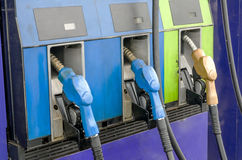 Four petrol pumps, close up Royalty Free Stock Image