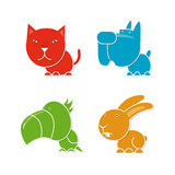 Four pets. Cat, dog, parrot and rabbit Royalty Free Stock Image
