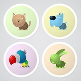 Four pets in the circle. Four buttons with pets, cat, dog, parrot and rabbit Royalty Free Stock Photography
