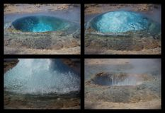 Four phases of geyser eruption Royalty Free Stock Images